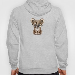 Cute Cougar Cub Wearing Reading Glasses on Pink Hoody