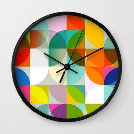 mid century geometry vibrant colors Wall Clock
