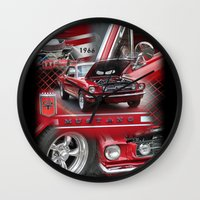 mustang Wall Clocks featuring 1966 Mustang  by Andrew Sliwinski