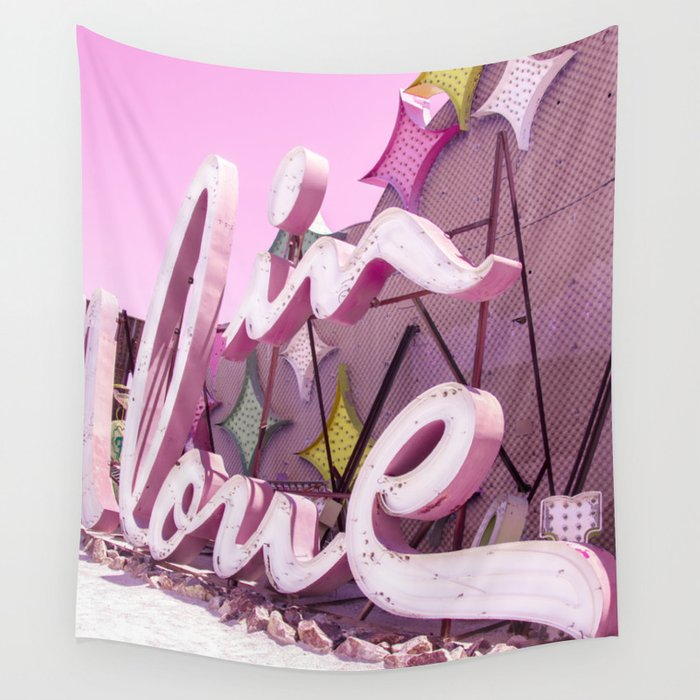 "Pink ""In Love"" Sign at the Neon Museum in Las Vegas, Nevada Wall Tapestry"