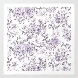 FLORAL VINTAGE ROSES MAUVE WHITE Art Print