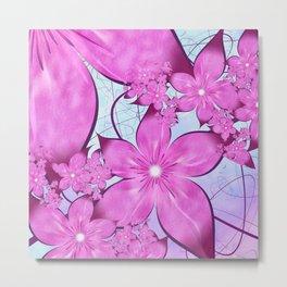 Pink Lilies Fractal Metal Print