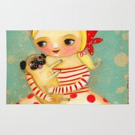 Babushka with pug dog Rug