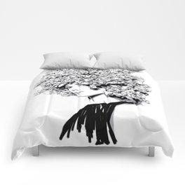 Fashion portrait illustration haute couture Valentino inspired design Comforters