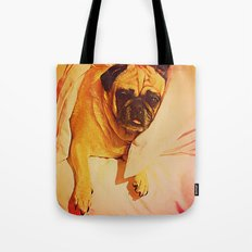 PUG LOVE: Will you bring me breakfast in bed? Tote Bag