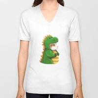 guinea pig V-neck T-shirts featuring Guinea Pig in a Dinosaur Costume - Peegosaurus Rex by When Guinea Pigs Fly