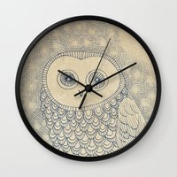 starry night Wall Clocks featuring Starry Night by Eric Fan
