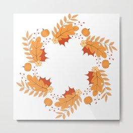 Wreath of colorful autumn leaves, berries, pumpkins and flowers Metal Print