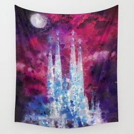 Barcelona Night Wall Tapestry
