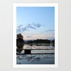 Dawning - Dock Bridge Art Print