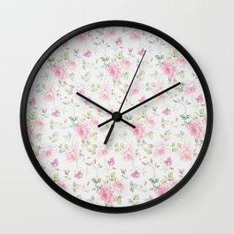 Elegant blush pink white vintage rose floral Wall Clock