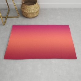 Living Coral Pink Peacock Jester Red Gradient Ombre Pattern Rug