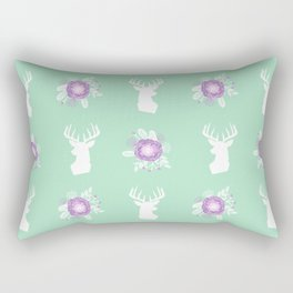 Deer head bouquet floral silhouette pattern minimal camping nursery baby mint and purple patterns Rectangular Pillow