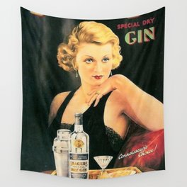 Seagers Special Dry Gin Alcoholic Cocktails Vintage Advertisement Poster Wall Tapestry