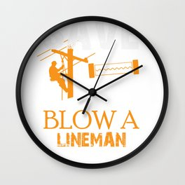 Lineman Electrician Gift For Dad  Graphic Wall Clock