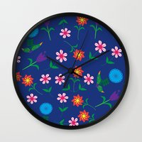 floral pattern Wall Clocks featuring Floral pattern  by luizaPatterns