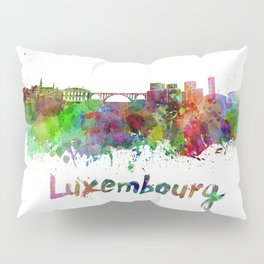 Luxembourg skyline in watercolor Pillow Sham