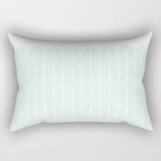 Hand drawn Herringbone in Aqua Rectangular Pillow