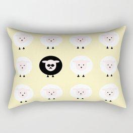 Black sheep on a yellow tale Rectangular Pillow