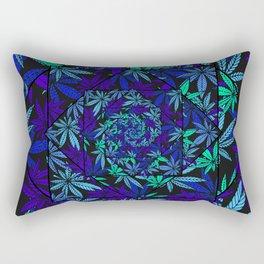 Aquatic Shades Marijuana Pot Leaf Kaleidoscope Mandala Rectangular Pillow