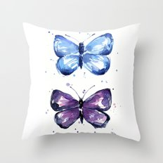 Butterflies Watercolor Blue and Purple Butterfly Throw Pillow
