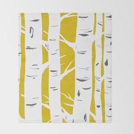 Mustard Birches Throw Blanket