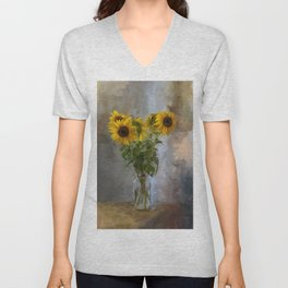 Five Sunflowers Centered Unisex V-Neck