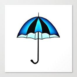 Bright Blue Black Rain Umbrella Illustration Canvas Print