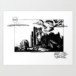 Towering skull in black ruins Art Print