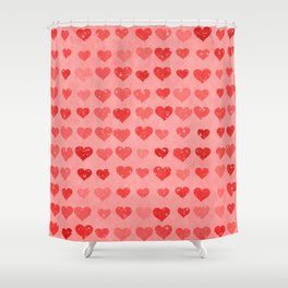 Pink Valentines Love Hearts Shower Curtain