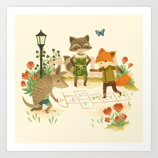 Hopscotch with Critters Art Print