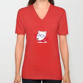 Hipster Polar Bear Unisex V-Neck