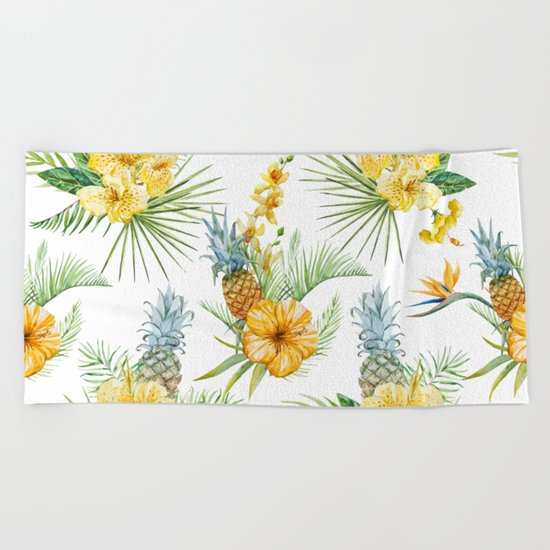 Pineapple Pattern 04 Beach Towel