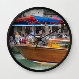 Macho Cigarette Smoking Boatman in Venice Wall Clock