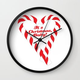 Candy Cane - It's Christmas, Baby! #xmas #christmas #minimal #love #design Wall Clock