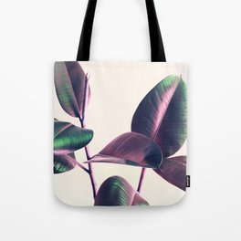 Pink and Green Iridescent Leaves Tote Bag