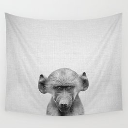 Baby Baboon - Black & White Wall Tapestry