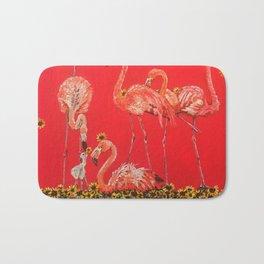 Sunning Flamingos Bath Mat