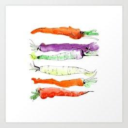Rainbow Gardens: Carrots Art Print