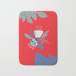 Red spring flower Bath Mat