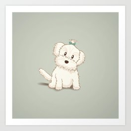 Maltese Dog Illustration Art Print