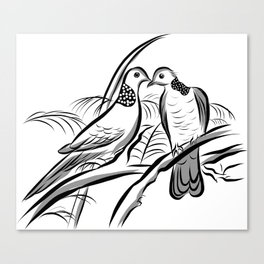 Love Bird Couple - Happy Valentines Day Canvas Print