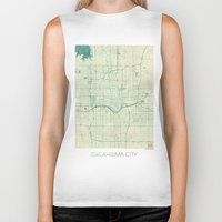 oklahoma Biker Tanks featuring Oklahoma City Map Blue Vintage by City Art Posters