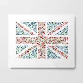 British Flag Floral Watercolor Metal Print