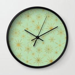 Snowflake Mandalas Mint Green Gold Wall Clock