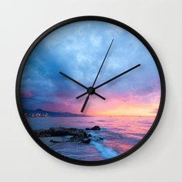 Pastel Beach Sunset Wall Clock