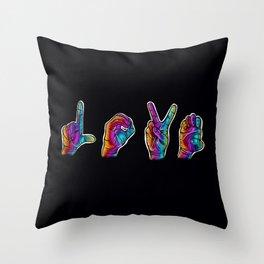 Love- Rainbow Sign Language Hands Throw Pillow