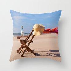 Windy Beach Day Throw Pillow