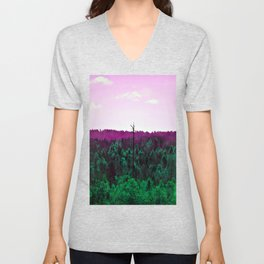 Purple forest and dead tree Unisex V-Neck