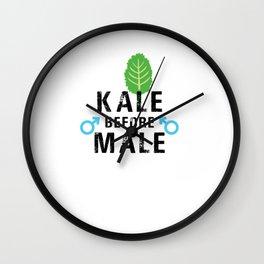 Kale Before Male Kale Art for Women Vegans on Diet Light Wall Clock